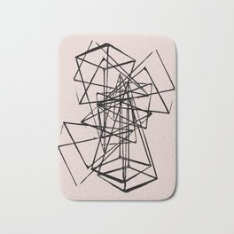 Abstract space construction in pink Bath Mat