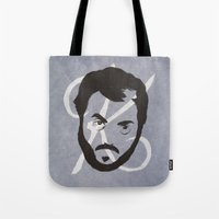 kubrick Tote Bags featuring K is for Kubrick by Albert Blanchet