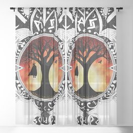 Odin Knotwork - Sunset Variant - Inspired by Traditional Nordic Artwork Print Sheer Curtain