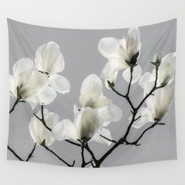 Gray Magnolia and White Wall Tapestry