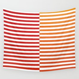 Red Strips Wall Tapestry