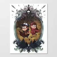 gravity falls Canvas Prints featuring Gravity Falls by Vaahlkult