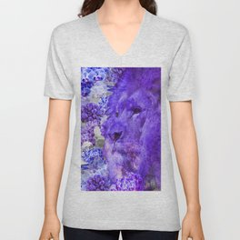 LION AND ORCHIDS  PURPLE AND BLUE FANTASY DREAM Unisex V-Neck