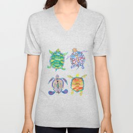 Four Sea Turtle Friends -multicolor theme Unisex V-Neck