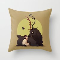 will graham Throw Pillows featuring Will Graham & Nightmare Stag by Sutexii