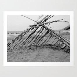hut on the beach Art Print