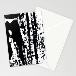 Blank: a minimal black and white linoprint Stationery Cards