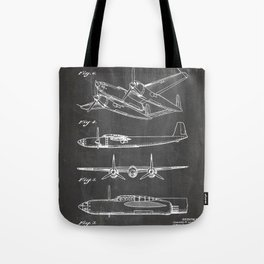 Hughes Lockheed Airplane Patent - Hughes Aviation Art - Black Chalkboard Tote Bag