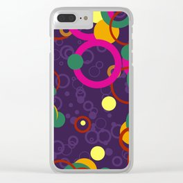 Abstract Pink and Purple Circle Pattern - Colorful Art Clear iPhone Case