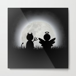Angel and Devil Moon Meeting Metal Print