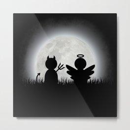 Angel and Devil Moon Meeting Metal Print