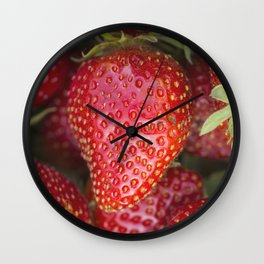 Fresh organic strawberries Wall Clock