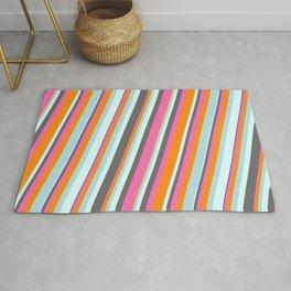 Eye-catching Dim Gray, Hot Pink, Dark Orange, Powder Blue, and Light Cyan Colored Striped Pattern Rug