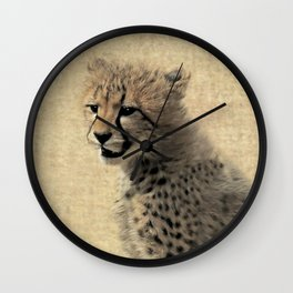 Cheetah cub Wall Clock