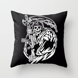 Hand Inked Grim Reaper Illustration Throw Pillow