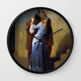 'The Kiss' at Pinacoteca di Brera by Francesco Hayez Wall Clock