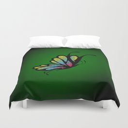 Mosaic Butterfly on Emerald Green Duvet Cover