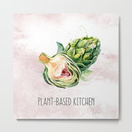 Plant-Based Kitchen Artichoke Metal Print