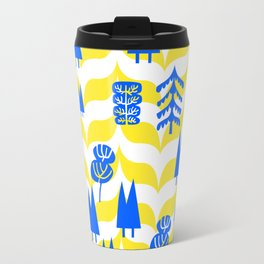 CMYK Woods, trees and forests, yellow and blue nature, primary colors Travel Mug