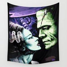 Bride of Frankenstein Monsters in Love Wall Tapestry