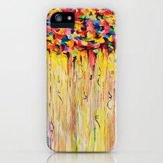 OPPOSITES LOVE Raining Sunshine - Bold Bright Sunny Colorful Rain Storm Abstract Acrylic Painting iPhone (5, 5s) Slim Case