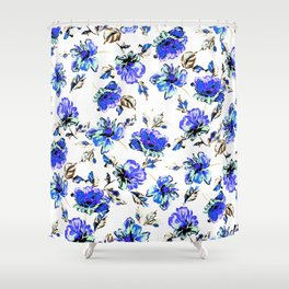 Watercolor Floral Pattern Shower Curtain