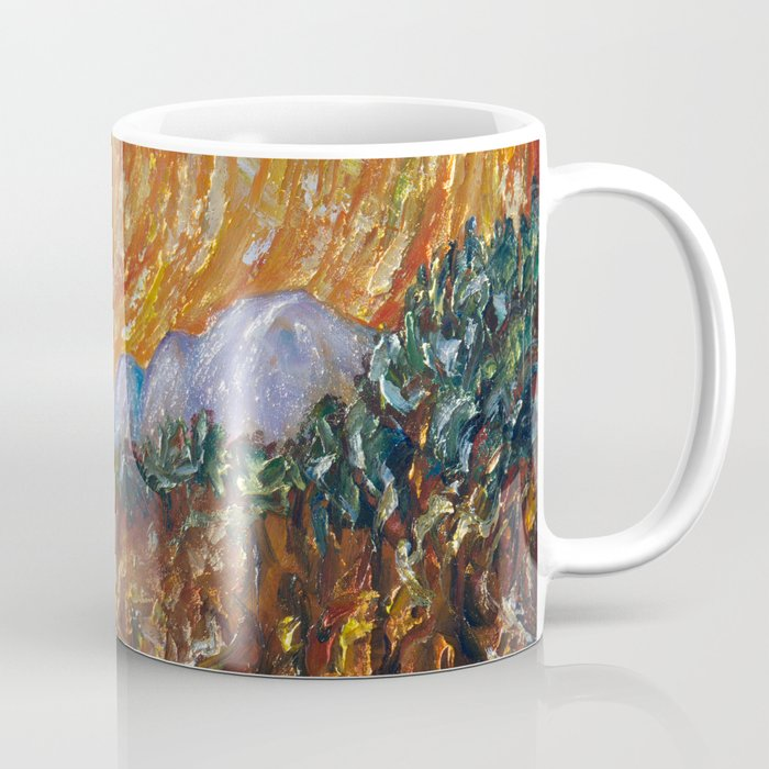 Trees, Yellow Sky and Sun Inspired by Vincent Van Gogh's Painting Coffee Mug