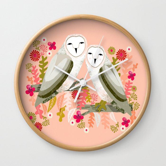 Owl Always Love You - Valentines Barn Owls, owl, owls, cute, animals, birds, andrea lauren Wall Clock
