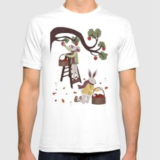 Autumn Apple Picking Mens Fitted Tee SMALL White