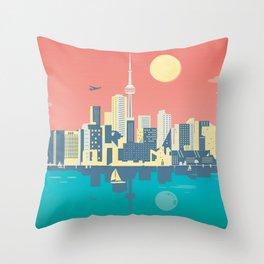 Toronto City Skyline Art Illustration Throw Pillow