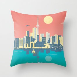 Toronto City Skyline Art Illustration - Cindy Rose Studio Throw Pillow