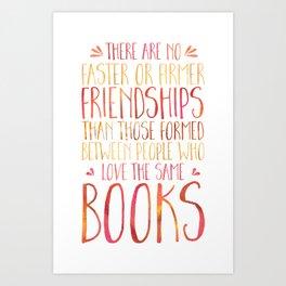 Bookish Friendship - Red/Orange Art Print