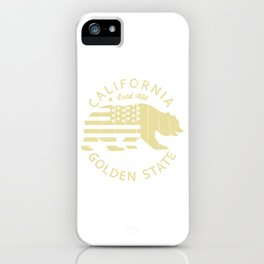 Vintage Retro California Republic Golden State Grizzly Bear American Flag Gift iPhone Case