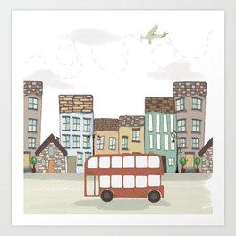Quirky London Bus Street Scene Art Print