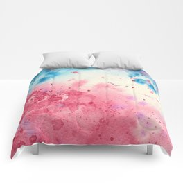 When pink meets blue || watercolor Comforters