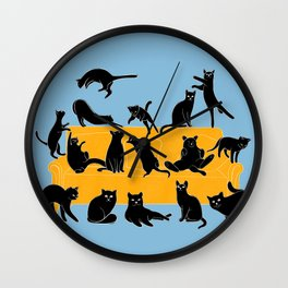 Cute Black Cats on the Sofa | Blue Wall Clock