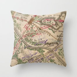 Vintage Map of The Battle of Chantilly (1865) Throw Pillow