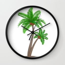 Tropical palm tree with coconuts symbol isolated vector illustration Wall Clock