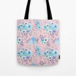 Elegant blush pink blue teal violet watercolor floral Tote Bag