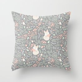 Sleeping Fox - grey pattern design Throw Pillow