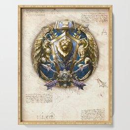 Alliance crest sigil symbol wow da vinci style artwork Serving Tray
