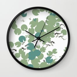 Blue and green lilypad Wall Clock