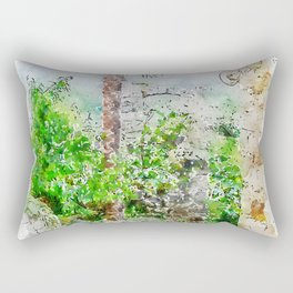 Aquarelle sketch art. Ancient stone buildings and palm tree in Istria, Croatia Rectangular Pillow
