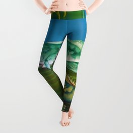 Mariana Trench Sea Bottom landscape with fish, seashells, and starfish by Hilaire Hiler Leggings