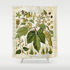 common hop botanical print on vintage almanac collage shower curtain