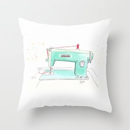 Vintage White 43-8 Sewing Machine in Aqua Throw Pillow