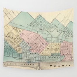 Vintage Map of Peoria IL (1876) Wall Tapestry