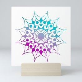 Mandala #2 (Purple Pink Turquiose) Mini Art Print