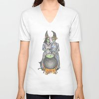 lesbian V-neck T-shirts featuring lesbian witches by ElenaM
