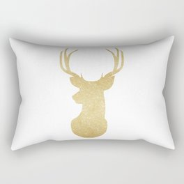 Gold Glitter Reindeer Rectangular Pillow